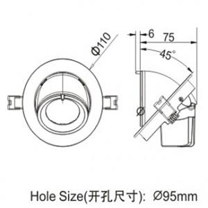 LD1490115W size Ø110 (cutout Ø95)