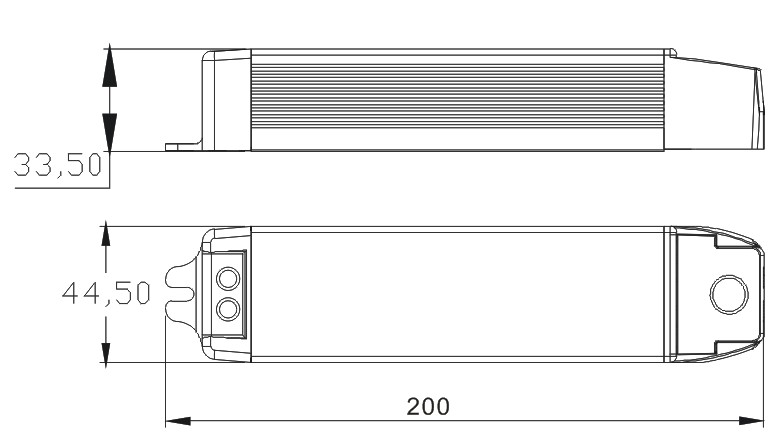45W Triac dimmable LED driver Size Drawing